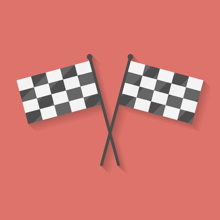 accomplish: Flat icon of two crossed racing, competition or finish flags Illustration