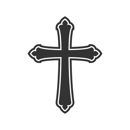 Symbol of a church cross. Christianity religion symbol Çizim