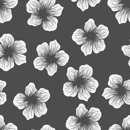 doodled: Doodled seamless vector pattern from flowers.  Endless vector background nature, summer theme. Hand drawn floral abstract pattern