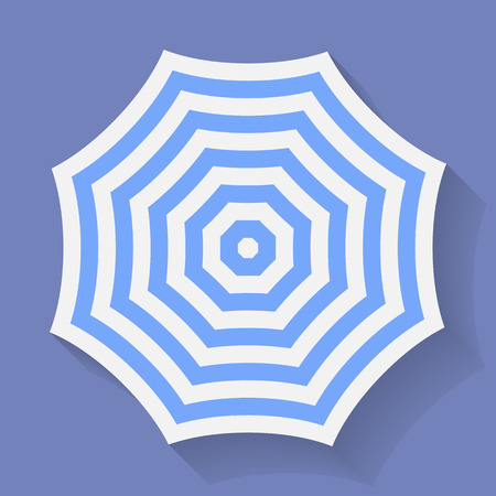 Icon of Umbrella. Stripped parasol symbol. Vector illustration