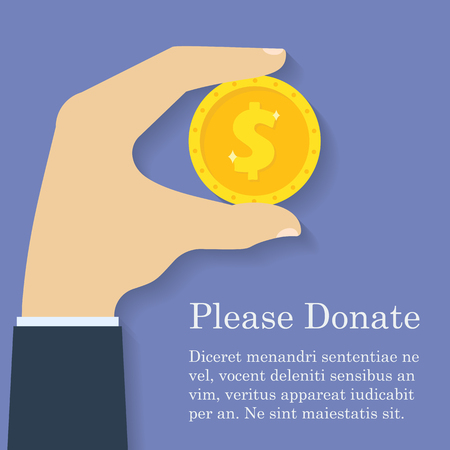 giving money: Gold dollar coin icon in man hand. Donation, giving money concept