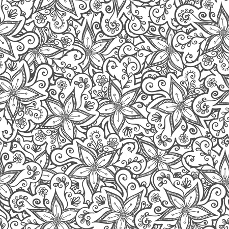 doodled: Doodled seamless vector pattern from flowers.  Endless vector background nature theme. Hand drawn floral abstract pattern Illustration