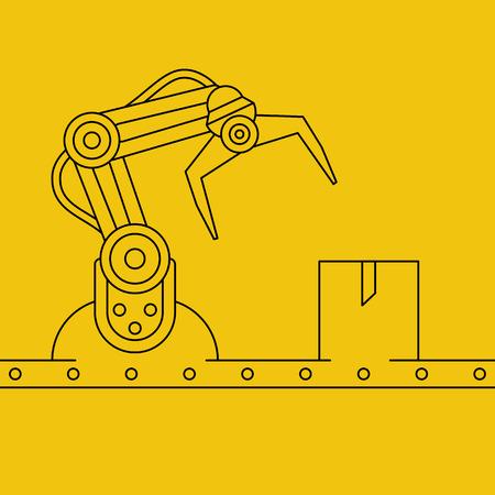 manipulator: Industrial manipulator or mechanical robot arm. Line art style concept