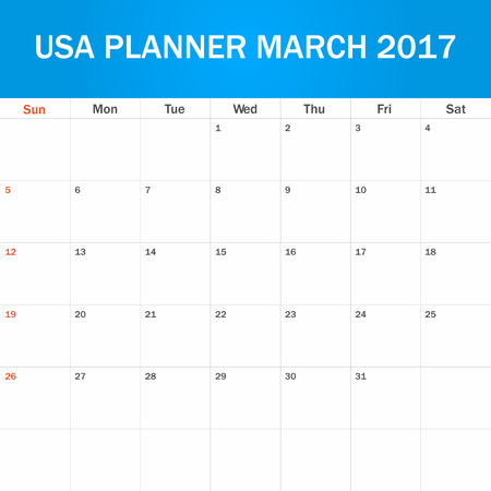 scheduler: USA Planner blank for March 2017. Scheduler, agenda or diary template. Week starts on Sunday Illustration