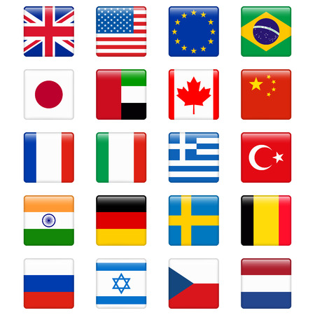 country flags: Set of popular country flags. Glossy square vector icon set