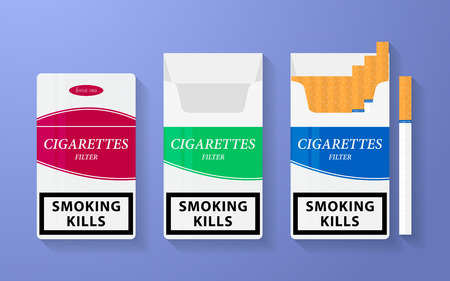 cigarette pack: Icon of cigarette pack. The open, empty and closed boxes with an inscription - smoking kills
