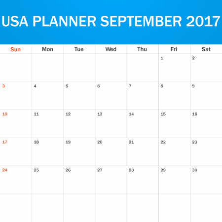 scheduler: USA Planner blank for September 2017. Scheduler, agenda or diary template. Week starts on Sunday Illustration