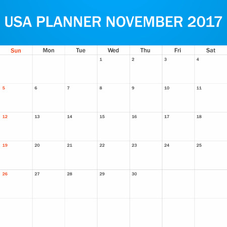 scheduler: USA Planner blank for November 2017. Scheduler, agenda or diary template. Week starts on Sunday