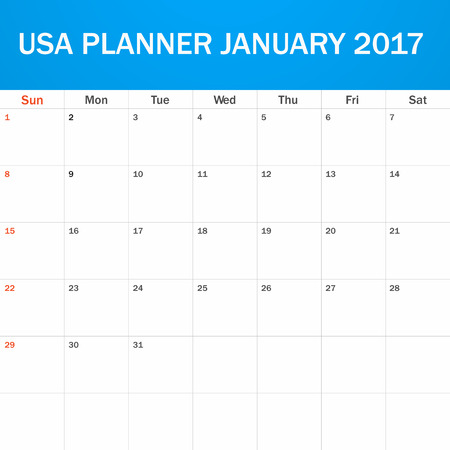 scheduler: USA Planner blank for January 2017. Scheduler, agenda or diary template. Week starts on Sunday