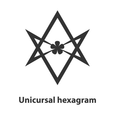 pentagramma musicale: Icona di unicursal simbolo esagramma. Thelema religione segno