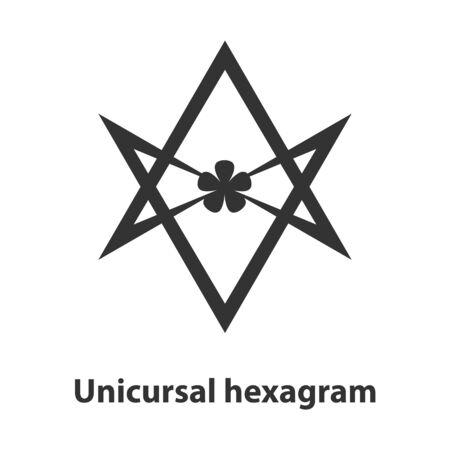 Icon of Unicursal hexagram symbol. Thelema religion sign Illustration