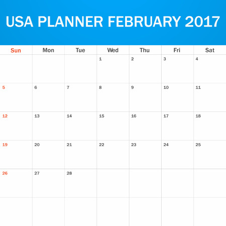 scheduler: USA Planner blank for February 2017. Scheduler, agenda or diary template. Week starts on Sunday