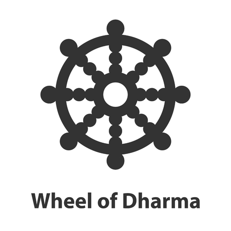 Icon of Wheel of Dharma symbol. Buddhism religion sign