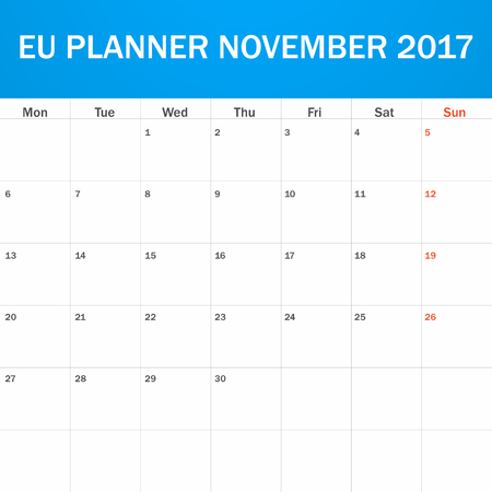 scheduler: EU Planner blank for November 2017. Scheduler, agenda or diary template. Week starts on Monday