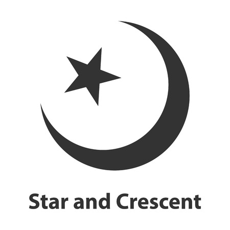 Icon of Star and Crescent symbol. Islam religion sign