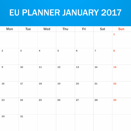 scheduler: EU Planner blank for January 2017. Scheduler, agenda or diary template. Week starts on Monday