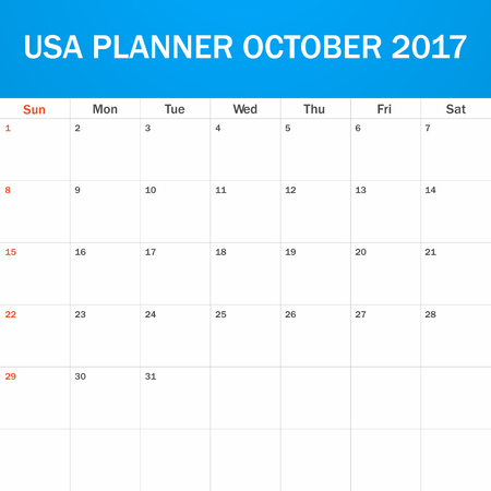 scheduler: USA Planner blank for October 2017. Scheduler, agenda or diary template. Week starts on Sunday