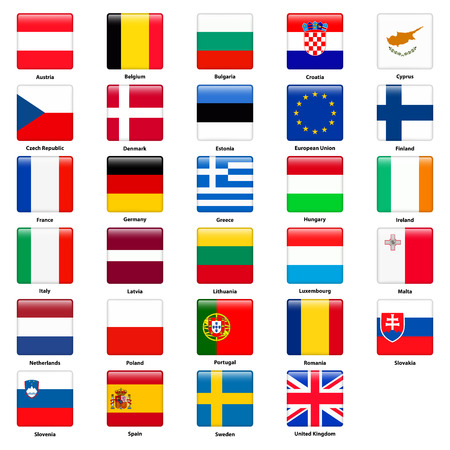 all european flags: All flags of the countries of the European Union. Square glossy style