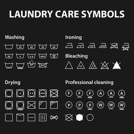 bleach: Icon set of laundry symbols. Washing instruction symbols. Cloth, Textile Care signs collection