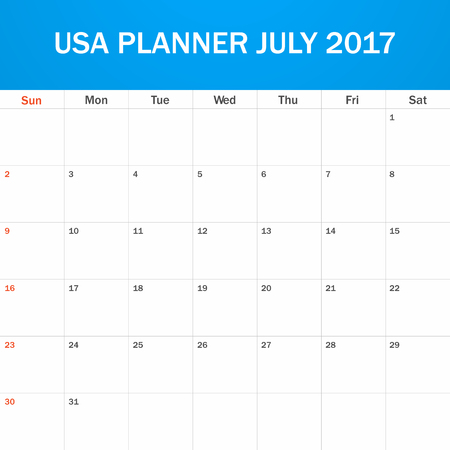 scheduler: USA Planner blank for July 2017. Scheduler, agenda or diary template. Week starts on Sunday Illustration