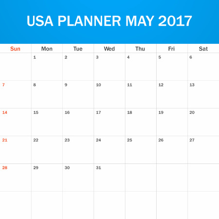 scheduler: USA Planner blank for May 2017. Scheduler, agenda or diary template. Week starts on Sunday