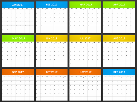 scheduler: European Planner blank for 2017. Scheduler, agenda or diary template. Week starts on monday