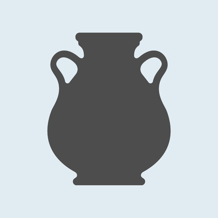 Icon of Ancient, antique vase or amphora. Pottery utensil, crockery vector sign, symbol