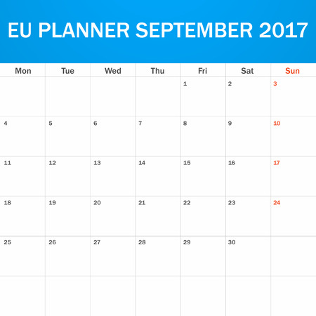 scheduler: EU Planner blank for September 2017. Scheduler, agenda or diary template. Week starts on Monday