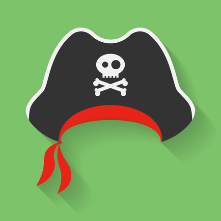 skull with crossed bones: Vector Icon of Pirate Hat with a Jolly Roger symbol. Filibuster, corsair headdress with sign, emblem of crossed bones or crossbones and skull.
