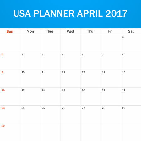 scheduler: USA Planner blank for April 2017. Scheduler, agenda or diary template. Week starts on Sunday