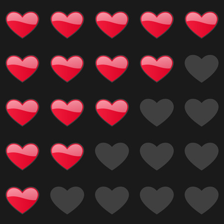 estimation: Rating hearts panel. Customer review, vote navigation bar. Vector satisfaction, like level symbol