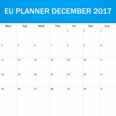 scheduler: EU Planner blank for December 2017. Scheduler, agenda or diary template. Week starts on Monday