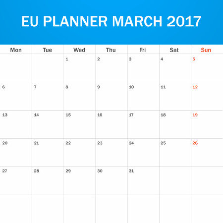 scheduler: EU Planner blank for March 2017. Scheduler, agenda or diary template. Week starts on Monday