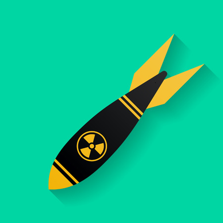 nuclear bomb: Icon of air bomb or missile with radiation sign. Nuclear weapon symbol