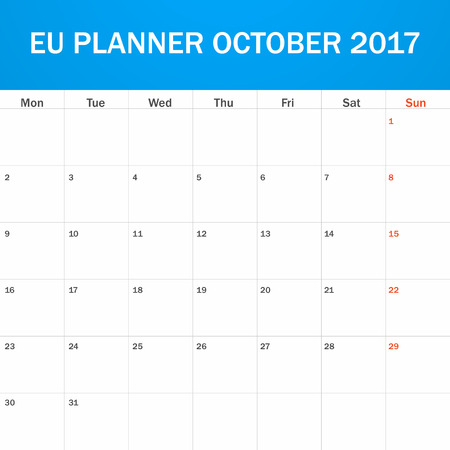 scheduler: EU Planner blank for October 2017. Scheduler, agenda or diary template. Week starts on Monday