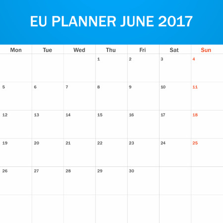 scheduler: EU Planner blank for June 2017. Scheduler, agenda or diary template. Week starts on Monday