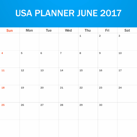 scheduler: USA Planner blank for June 2017. Scheduler, agenda or diary template. Week starts on Sunday