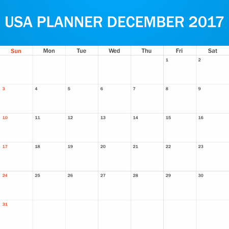 scheduler: USA Planner blank for December 2017. Scheduler, agenda or diary template. Week starts on Sunday