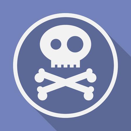 remains: Icon of Jolly Roger symbol. Pirate, filibuster, corsair sign of crossed bones or crossbones and skull. Vector emblem Illustration