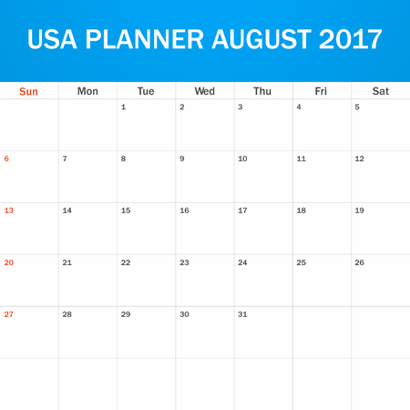 scheduler: USA Planner blank for August 2017. Scheduler, agenda or diary template. Week starts on Sunday