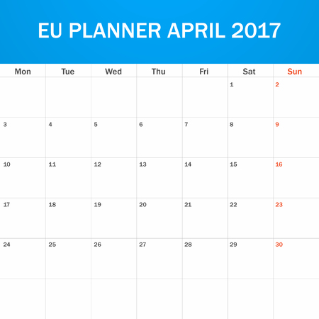 scheduler: EU Planner blank for April 2017. Scheduler, agenda or diary template. Week starts on Monday