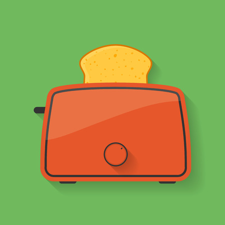 burnt toast: Icon of kitchen appliance - toaster with slice of bread or toast