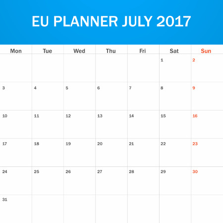 scheduler: EU Planner blank for July 2017. Scheduler, agenda or diary template. Week starts on Monday