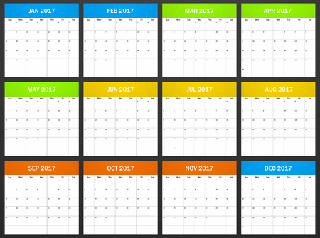 scheduler: USA Planner blank for 2017. Scheduler, agenda or diary template. Week starts on Sunday