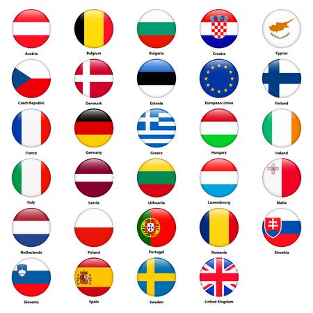 Alle Flaggen der Länder der Europäischen Union. Runde glänzend Stil