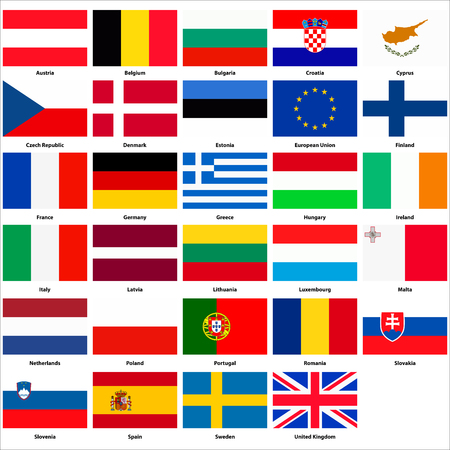 all european flags: All flags of the countries of the European Union Illustration