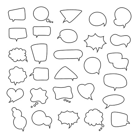 talk balloon: Icon set of empty speech bubbles, think clouds. Collection of comics talk balloon symbols