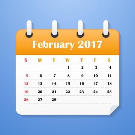 European Calendar for February 2017. Week starts on Monday. Vector illustration Illustration