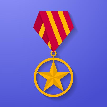 Star medal congratulation icon. Military badge. Golden award.