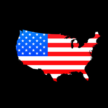 Map of USA with American flag texture Illustration